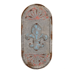 Distressed Fleur-de-Lis Oval Metal Wall Plaque
