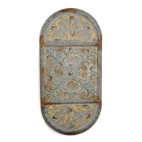Distressed Oval Metal Wall Plaque