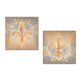 Golden Fleur-de-lis Canvas Art Print, Set of 2