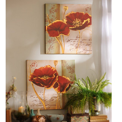 Red and Gold Poppies Canvas Art Print, Set of 2