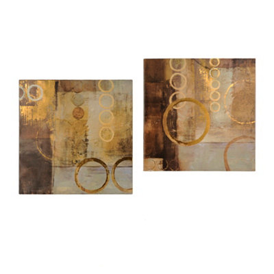 Neutral Circles Canvas Art Print, Set of 2