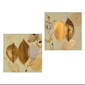 Shimmering Leaves Canvas Art Print, Set of 2