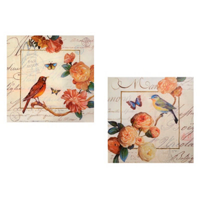 Petals and Wings Canvas Art Print, Set of 2