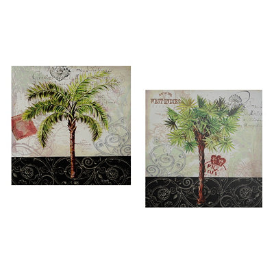 West Indies Palms Canvas Art Print, Set of 2