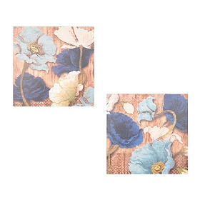 Blue Dancing Poppies Canvas Art Print, Set of 2