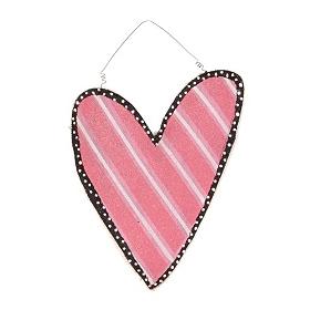 Pink Burlap Heart Wall Hanger