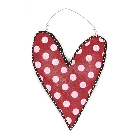 Red Burlap Heart Wall Hanger