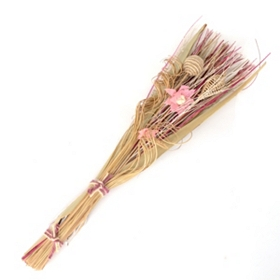 Pink Burlap Flower Dried Bouquet