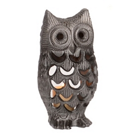 Gray Owl Votive Holder