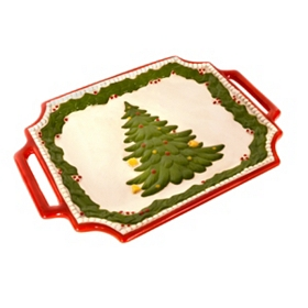 Christmas Tree Platter with Handles