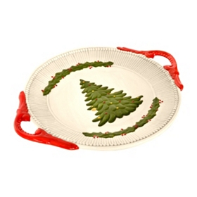 Christmas Tree Serving Plate with Handles