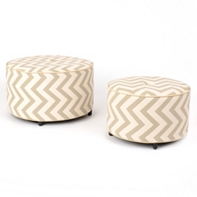 Chelsea Chevron Print Ottoman, Set of Two