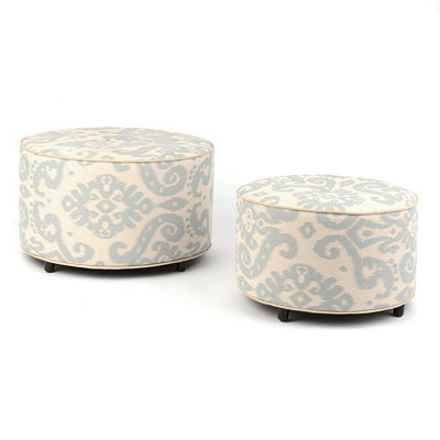 Chelsea Ikat Print Ottoman, Set of Two