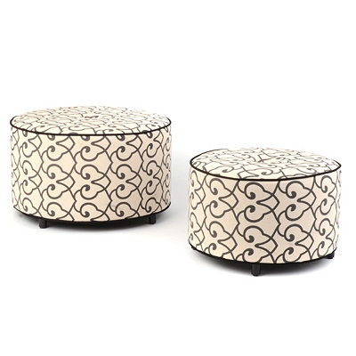 Chelsea Iron Work Print Ottoman, Set of Two