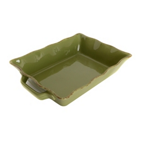 Green Stoneware Baking Dish
