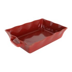 Red Stoneware Baking Dish, 4 qts.