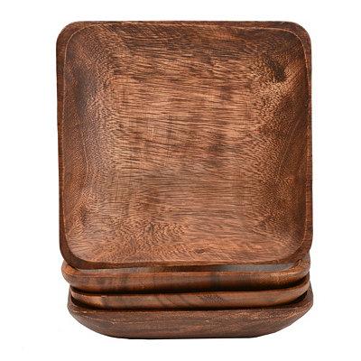 Small Acacia Wood Plates, Set of 4