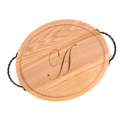Oval Wooden Monogrammed A Cutting Board