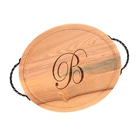 Oval Wooden Monogram B Cutting Board