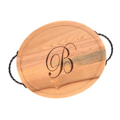 Oval Wooden Monogrammed B Cutting Board