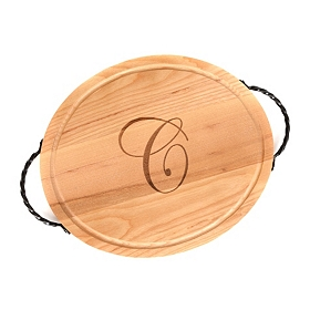 Oval Wooden Monogrammed C Cutting Board