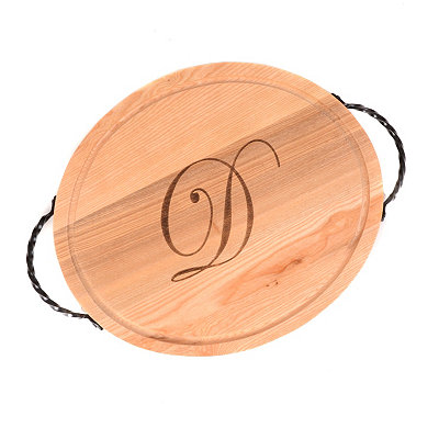 Oval Wooden Monogrammed D Cutting Board