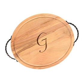 Oval Wooden Monogram G Cutting Board