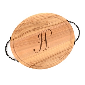 Oval Wooden Monogram H Cutting Board