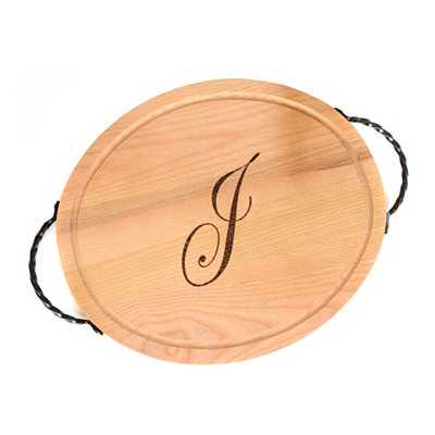 Oval Wooden Monogrammed J Cutting Board