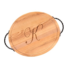 Oval Wooden Monogram K Cutting Board