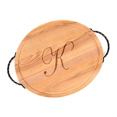 Oval Wooden Monogrammed K Cutting Board