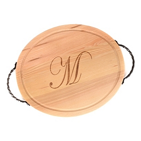 Oval Wooden Monogrammed M Cutting Board