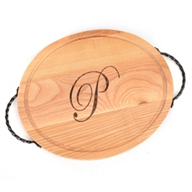 Oval Wooden Monogram P Cutting Board