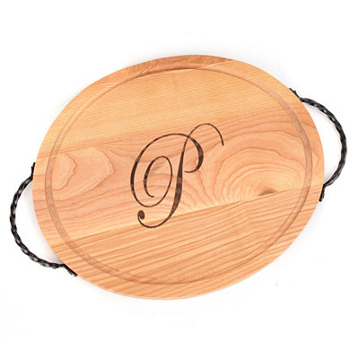 Oval Wooden Monogrammed P Cutting Board