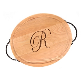 Oval Wooden Monogrammed R Cutting Board