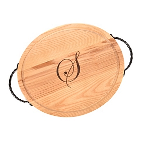 Oval Wooden Monogram S Cutting Board