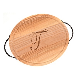 Oval Wooden Monogrammed T Cutting Board