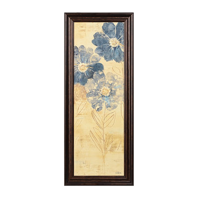 Blue Etched Blooms I Framed Art Print