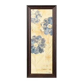 Blue Etched Blooms II Framed Art Print