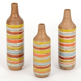 Color Stripe Ceramic Vases, Set of 3