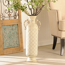 Ivory Distressed Metal Vase