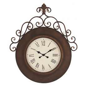 Fleur-de-lis Scroll Wall Clock