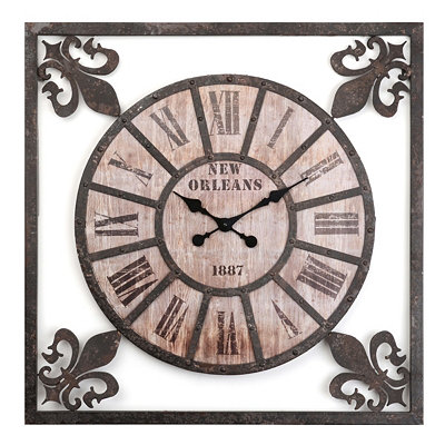 Distressed Fleur-de-Lis Metal Wall Clock