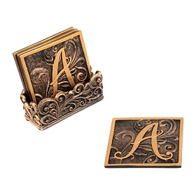 Edwardian Monogram Coaster Set, A