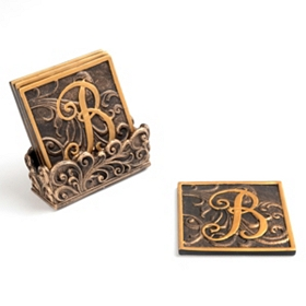 Edwardian Monogram Coaster Set, B