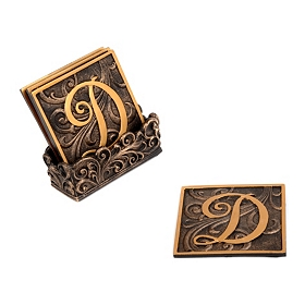 Edwardian Monogram Coaster Set, D