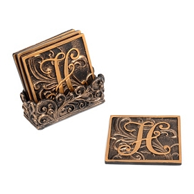 Edwardian Monogram Coaster Set, H