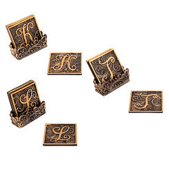 Edwardian Monogram Bronze Coaster Sets