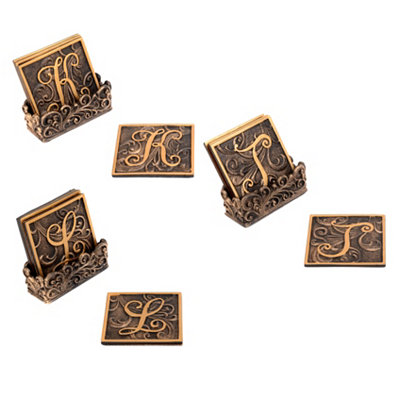 Edwardian Monogram Bronze Coaster Set