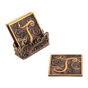 Edwardian Monogram Coaster Set, J